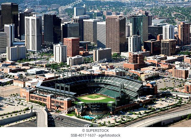 Aerial of Coors Field and the Denver Skyline