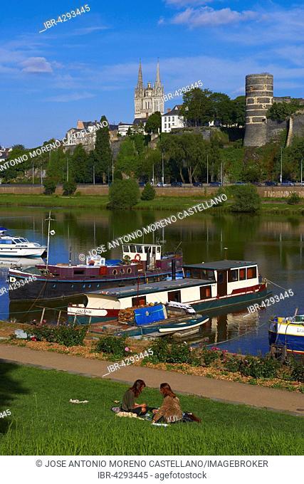 Château d'Angers, castle and cathedral with harbour on the Maine river, Angers, Maine-et-Loire, Anjou, Pays de la Loire, Loire Valley