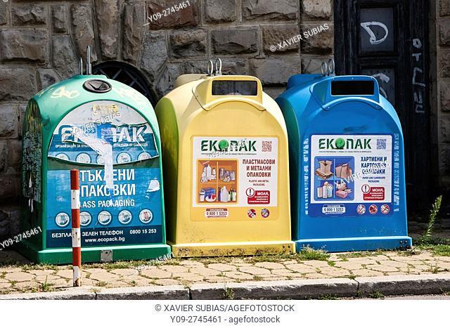 Recycling containers, Veliko Tarnovo, Bulgaria