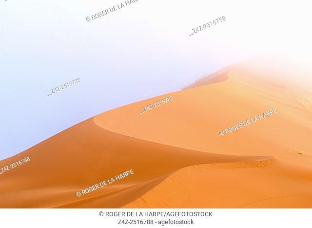 Desert dune and mist (fog) scenery. Sossusvlei. Namib-Naukluft National Park. Near Sesriem. Namibia