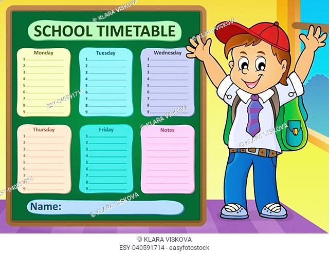 Weekly school timetable design 6 - picture illustration