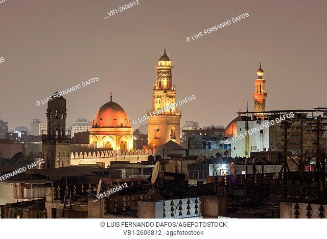 Islamic Cairo rooftops and minarets at dusk, Egypt