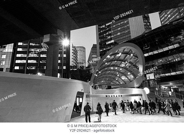 entrance to Wynyard Walk and modern architecture at Barangaroo, Sydney