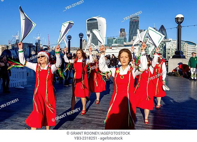The Dacre Female Morris Dancers Perform Outside City Hall, London, England