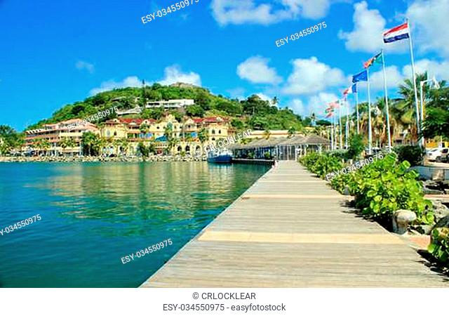Beautiful view of the capital city, Marigot in St. Martin