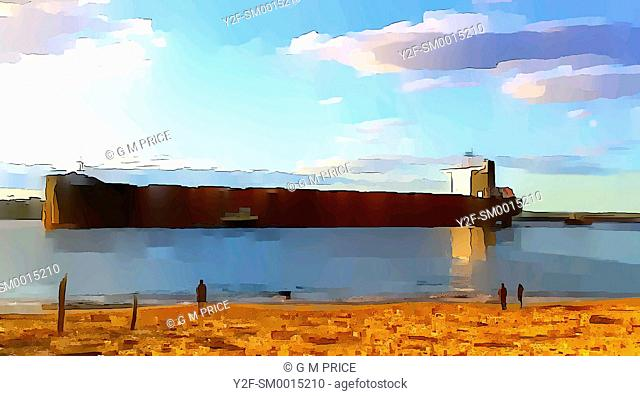 watercolour filter view of people standing on beach watching freighter entering harbour in Newcastle, Australia