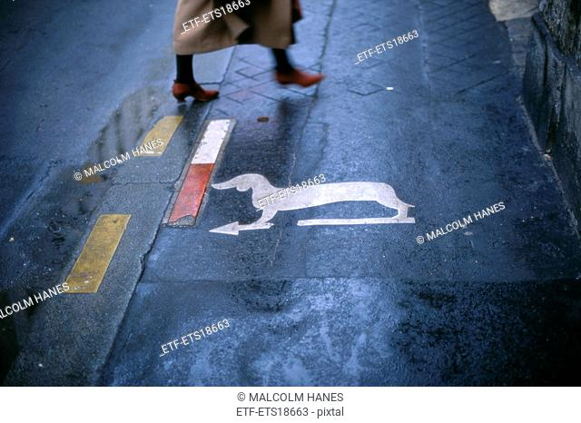A dog sign on the street, France