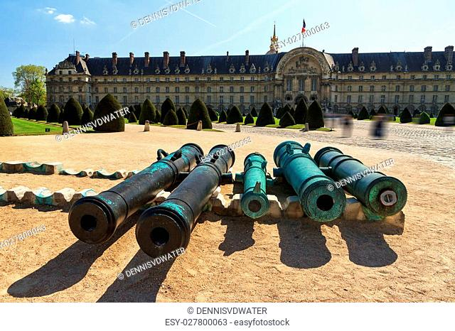 Ancient bronze cannon barrels taken from the enemy in ancient times at Les Invalides in Paris, France
