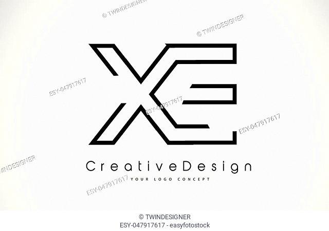 XE X E Letter Logo Design in Black Colors. Creative Modern Letters Vector Icon Logo Illustration