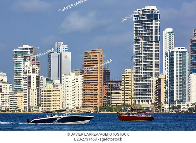 City waterfront with motorboats. Bahia de Las Animas, Bocagrande, Cartagena de Indias, Bolivar, Colombia