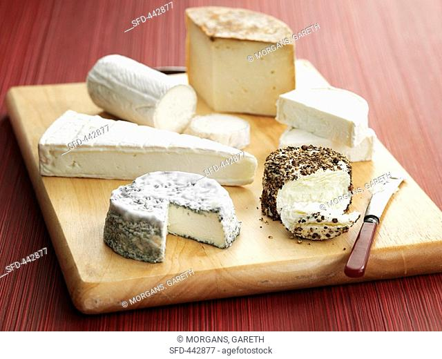 Various cheeses on a wooden board