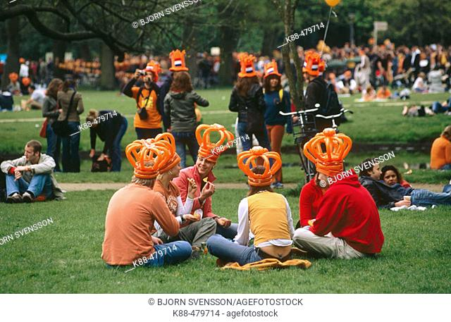 Queen's Day celebrations in Vondelpark. Amsterdam, Holland