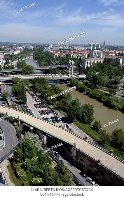 Modern Vienna and Danube River. Austria
