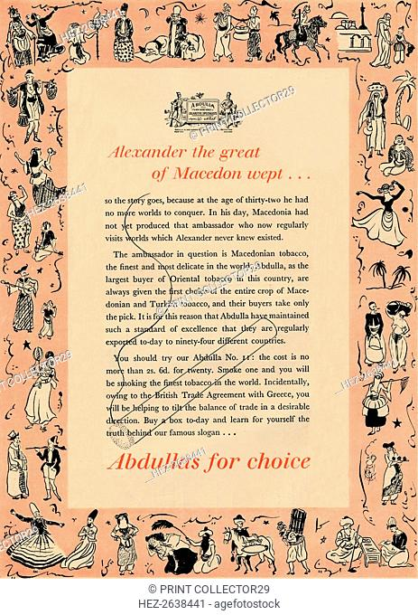 'Alexander the great of Macedon wept Abdullas for choice', 1939. Artist: Unknown