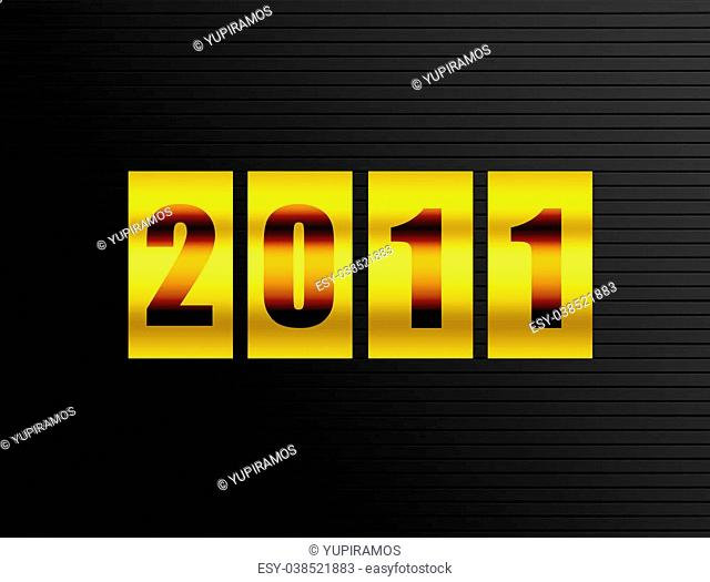 2011 new year counter over black background. Illustration
