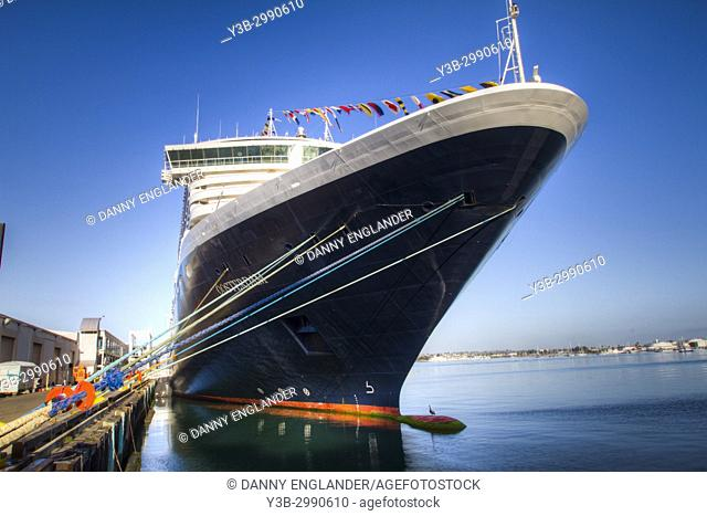 Front view of a cruise ship in port on San Diego Bay, California