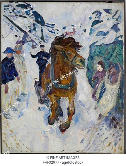 Galloping Horse by Munch, Edvard (1863-1944)/Oil on canvas/Symbolism/1910-1912/Norway/Munch Museum, Oslo/148x120/Landscape