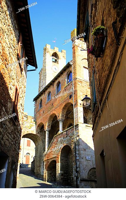 View of the municipal building in Suvereto Tuscany Italy