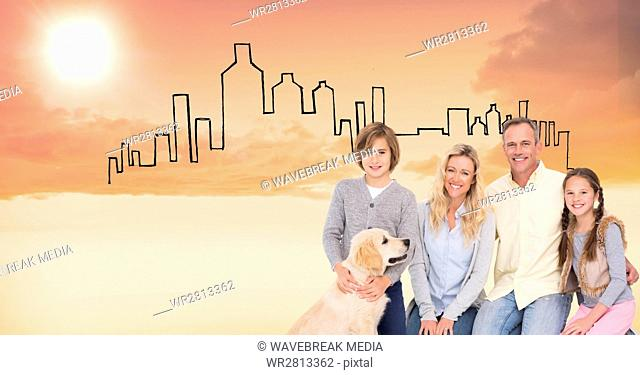 Digital composite image of happy family with dog against drawn buildings