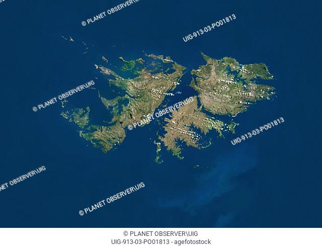 Satellite view of The Falkland Islands. This image was compiled from data acquired by LANDSAT 5 & 7 satellites
