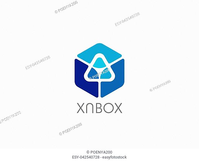data technology logo. logotype letter Y symbol. abstract geometric triangle in hexagonal cube box icon for corporate business, apps
