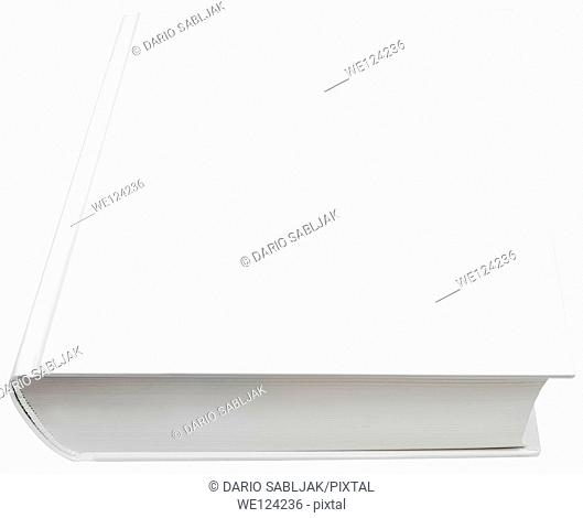 Image of blank white hard book cover isolated with clipping path