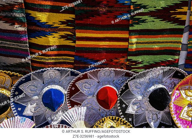 Colorful sombreros and blankets. Shopping for local crafts in downtown Loreto. UNESCO World Heritage Site. Loreto, Baja California Sur, Mexico