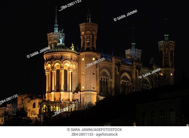Notre-Dame de Fourvière at night, UNESCO World Heritage Site, Lyon, France, Europe