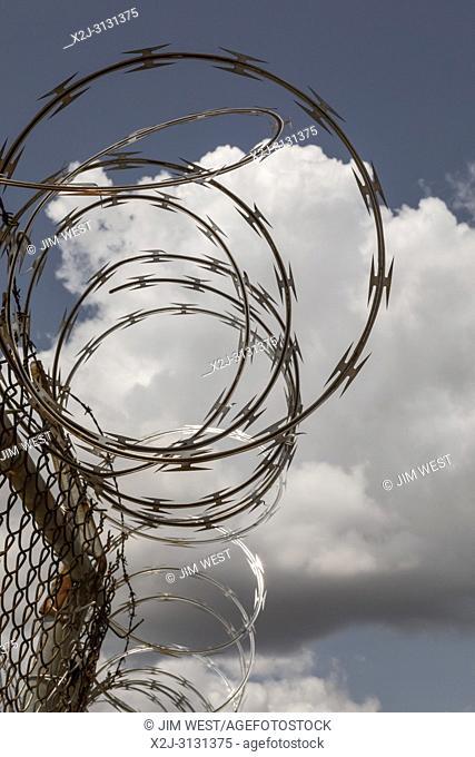 Detroit, Michigan - Razor wire on an industrial building