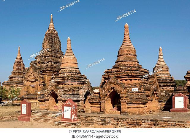 Group of restored stupas, Bagan, Myanmar