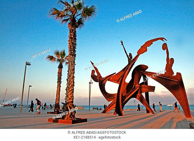 Sculpture 'Homage to Swim' by Alfred Lanz, 2004, promenade, Barcelona, Catalonia, Spain