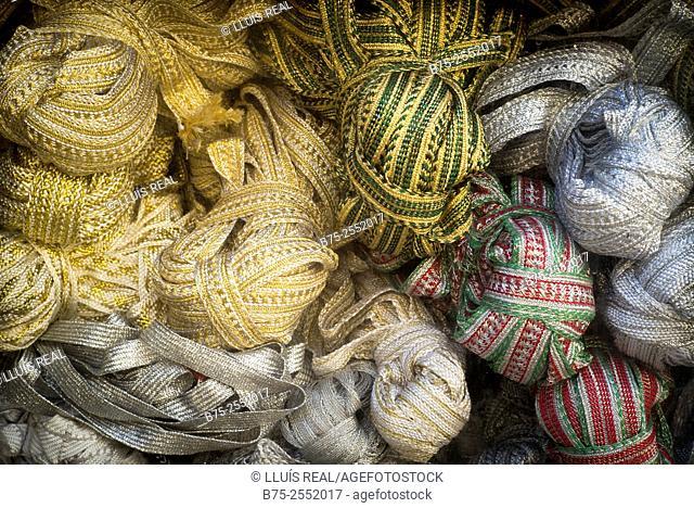 Haberdashery products. Medina of Fez, Morocco, Africa