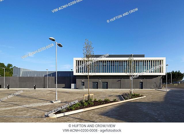 Front elevation across carpark. Keynsham Custody Suite and Prosecution and Investigation Facility, Keynsham, United Kingdom
