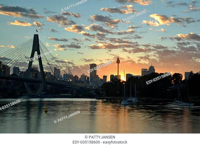 Sunrise over Sydney, seen from Glebe Point, with ANZAC bridge