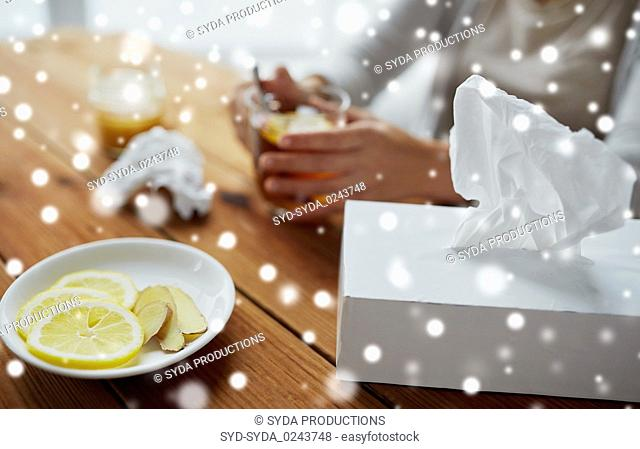 paper wipes box with lemon and ginger on plate