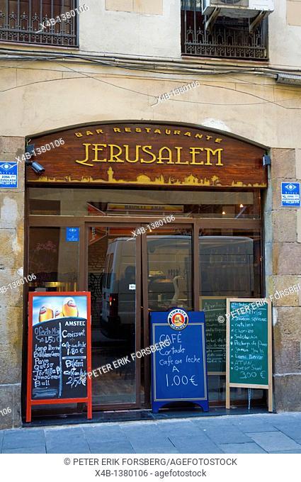 Bar restaurant Jerusalem along Carrer Nou de la Rambla street El Raval district Barcelona Catalunya Spain Europe