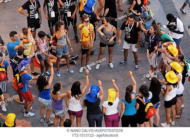 JMJ Pilgrims at Puerta del Sol, Madrid, Spain