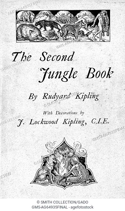 An illustrated cover for The Second Jungle Book by Rudyard Kipling, two illustrations depicting the lead character and jungle animals adorn the cover, 1895