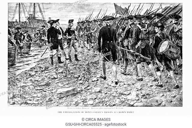 Richard Montgomery and Troops on Shore at Crown Point, New York, en Route for Invasion of Canada, 1775, The Embarkation of Montgomery's Troops at Crown Point