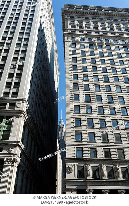 American Surety Building and Equitable Building, opposite to Trinity Church, Financial District, Downtown Manhattan, New York USA