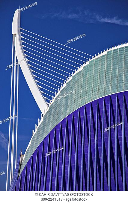 Detail view of the El Pont de l'Assut de l'Or bridge and the Agora located in the City of Arts and Sciences, designed by the Architect Santiago Calatrava Valls...