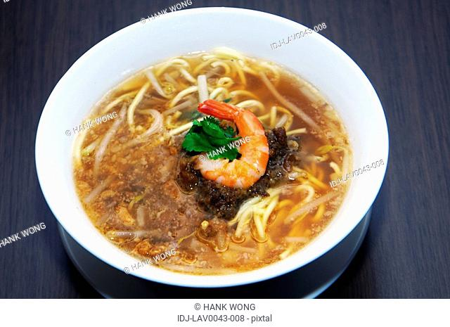 High angle view of prawn and noodle soup