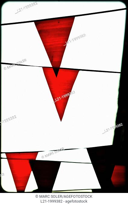 Red flags. White background