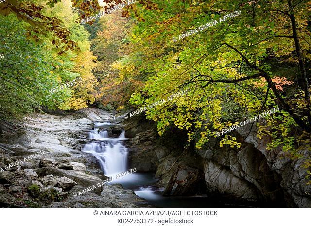 Cubo waterfall, Irati forest, Navarre, Spain