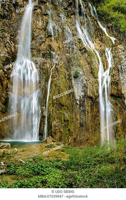 Croatia, Central Croatia, Plitvicka Jezera, Plitvice Lakes National Park, Lower Lakes, Veliki slap, Big Waterfall