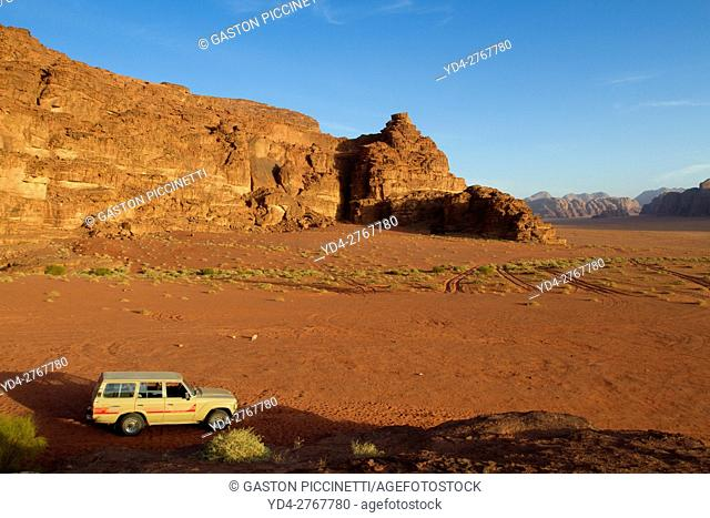 Wadi Rum desert, also known as The Valley of the Moon, is a valley cut into the sandstone and graniterock in southern Jordan