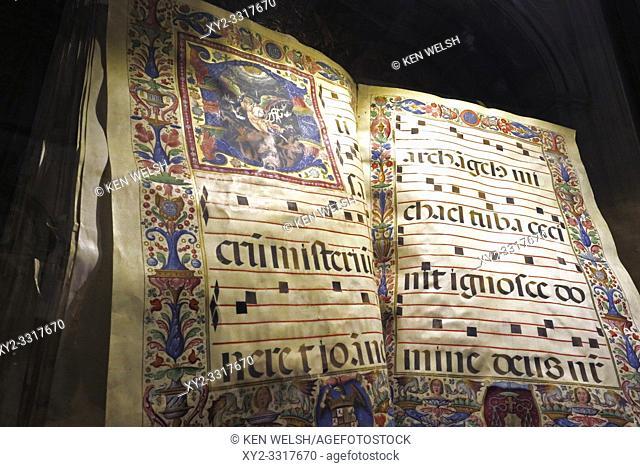 Medieval or early Renaissance choir book in the cathedral. Full name, Santa Iglesia Catedral Metropolitana de la Encarnacion