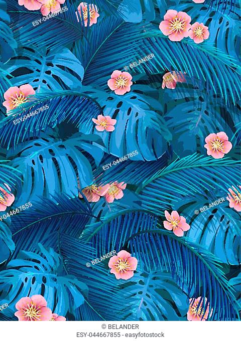 Exotic leaves and pink flowers seamless tropical background for fabric wallpaper. Leaves of monstera and banana palm