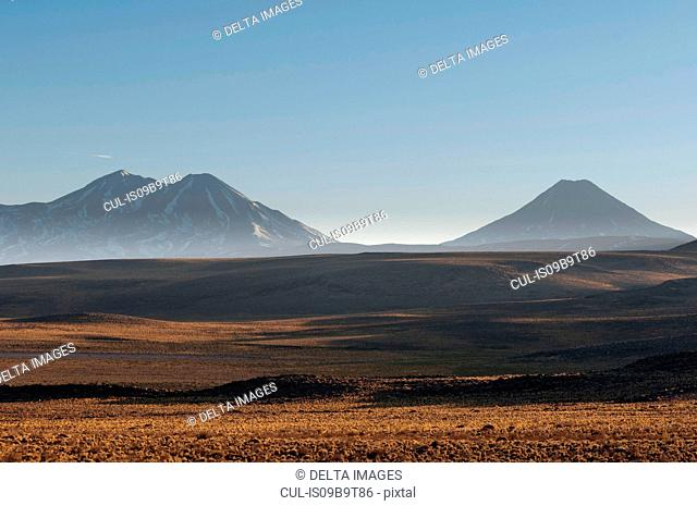 Landscape with mountains at dawn from road to Paso Sico, Atacama Desert, Chile