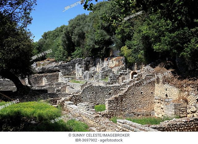 Treasury of the Sanctuary of Asclepius in the ruins of the ancient city of Butrint, UNESCO World Cultural Heritage Site, Butrint, near Saranda, Vlorë County